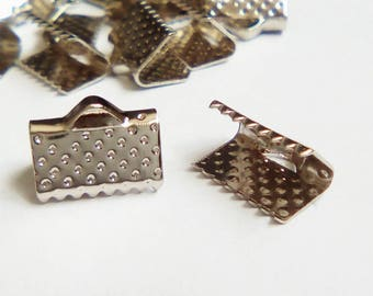 20 10x7mm Silver Ribbon ties