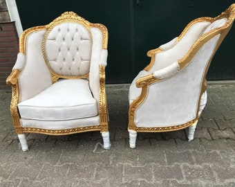 French Chairs French Furniture Chairs Antique Furniture French Tufted Chair  Refinish Gold Leaf Tufted Beige Cream Fabric Interior Design