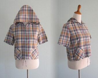 60s Plaid Jacket - Vintage Cropped Plaid Hooded Jacket by Wrangler - Cute 60s Plaid Surf Jacket - Vintage 1960s Jacket M