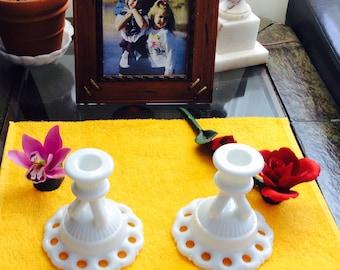 Vintage Westmoreland Doric Pattern Set of Six Milk Glass Candleholders