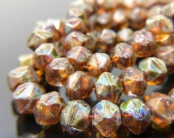 Small Amber Brown English Cut Beads with Picasso Finish, English Cut Czech Glass Beads, Amber Glass Rough Cut Beads, 7mm - 15 beads (ENG-23)