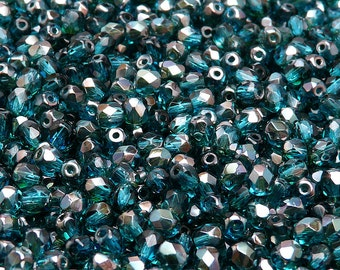 100pcs Czech Fire-Polished Faceted Glass Beads Round 4mm Aquamarine Celsian