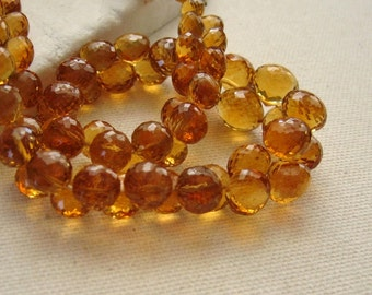 Madeira Citrine Gemstone Onion Briolette Beads Graduated 4.5 to 7.5mm - Half Strand 30 Beads