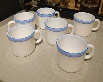 6 Vintage LaOpala Espresso Milk Glass Mugs - Blue Stripe - Hand Painted - Microwave Safe
