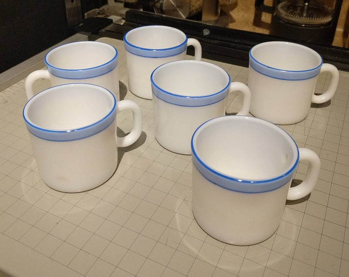 6 Vintage LaOpala Espresso Milk Glass Mugs - Blue Stripe - Hand Painted - Microwave Safe