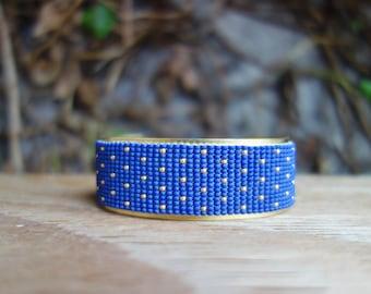 Dark blue and gold Cuff Bracelet