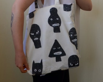 Hand made tote digital print fabric from hand-drawn abstract faces tote bag