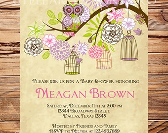 Owls Baby Shower Invitation, Baby Shower Invite, Purple, Girl, Whimsical, Pink, Green, Owls, Baby shower, 1470