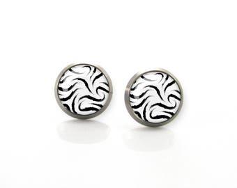 Pure Titanium Jewelry Earrings for sensitive ears Black white monochrome jewelry Hypoallergenic Stud | Titanium Jewelry Stud earrings