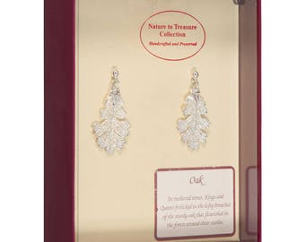 Real Oak Leaves Dipped In Silver - Post Dangle Earrings - Silver Electroplated - Boxed