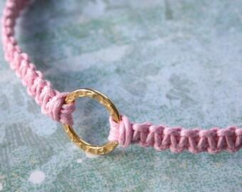 Karma Friendship Bracelet Gold Hammered Circle Ring On Rose Cotton Cord
