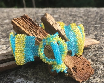 3-D Blue and Yellow Wave Hand-Beaded Bracelet