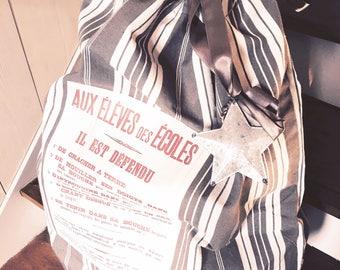 Bag XXL  de rangement en toile à matelas  gris et blanc pour jouets, linge, plaids...