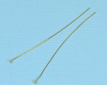 28 gauge 18k Solid Yellow Gold 1.5 INCH Ball Headpin (2)
