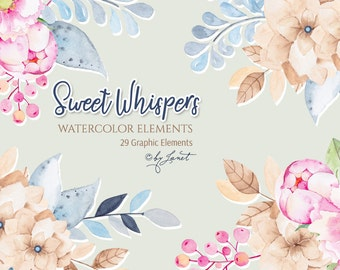 Sweet Whispers - Floral Watercolor Elements - PNG file