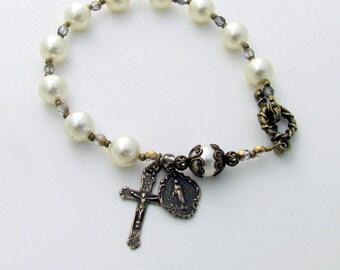Rosary Bracelet for women -Bronze Cross and Miraculous Medal