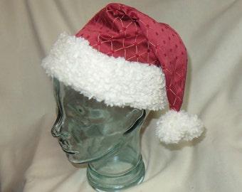 Red Brocade Santa Hat with Ivory Trim