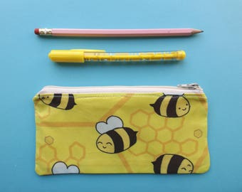 Bee Pencil Case, Bumble Bee, Busy Bees, Pencil Pouch, School Supplies, Bee Gift, Honeycomb Pattern, Zipper Pouch, Kawaii Bees, Save the Bees