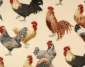 """ROOSTER  CHICKEN  on CREAM Designer fabric Valance or Panel Cotton Print 52 x 14"""" 18"""" 24' 32"""" Lined or Unlined"""