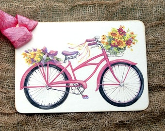 Vintage Style Pink Bicycle With Basket Of Flowers Gift Tags or Scrapbook Tags or Magnet #262
