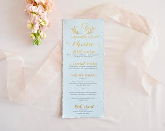 Custom Wedding Menu Calligraphy | Personalized Event Menu Calligraphy | Elegant Wedding Menu | Torn edges Menu | Gray & Gold | Flat Edge