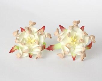 10 pcs - 4 cm 2tones soft beige gardenia flower