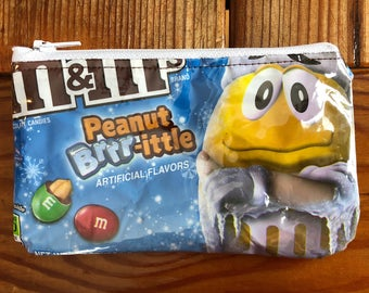 Recycled m&m Candy Wrapper Bag. Candy Bag. Peanut M and M's. Winter Bag. Christmas Bag. Vinyl. Wallet. Teen Gift. Vinyl Purse. Phone Case.