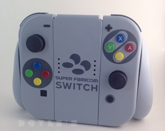 Super famicom switch themed custom joycon controllers with charger grip