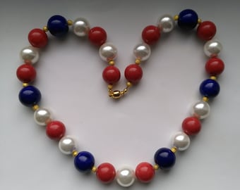 Red White Blue Necklace, Large Beads, Independence Day Memorial Day Labor Day USA Patriotic Necklace, America the Beautiful by enchantedbeas