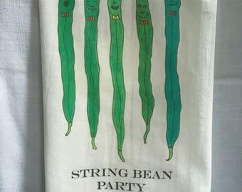 String Bean Party - Whimsical Vegetable Flour Sack Kitchen and Tea Towel