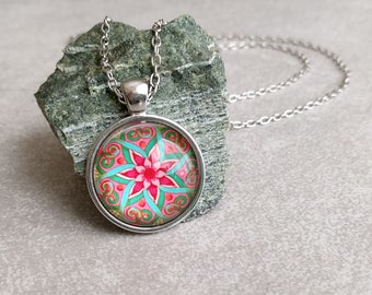 Mandala Necklace - Art Pendant Pink & Blue in Silver with Link Chain Necklace Included - Yoga Gifts - Gifts For Her