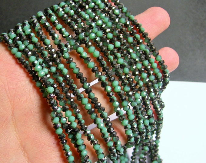 Crystal faceted rondelle - 145 pcs - 20 inch strand - 4 mm - A quality - mystic green - dual tone - YAZ8