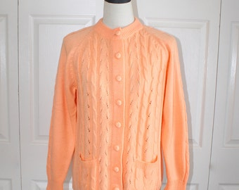 1960s Peach Cardigan Sweater . Vintage 60s Acrylic Cable Knit Granny Cardy Sweater Jumper . Size Large Bust 40