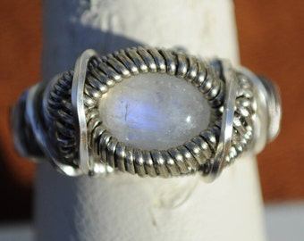Size 9 Genuine Rainbow Moonstone Wire Wrapped Ring in Silver Plated Copper