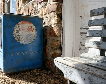 Old Pepsi Cooler Stone Wall Photo — Documentary Photograph of Roadside Americana — Worn Wooden Bench — Route 66 Missouri Photo Art — Retro
