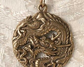 Large Round Dragon with Mount Fuji Bronze Pendant