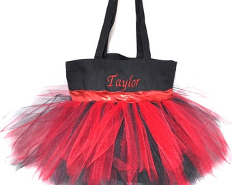 Cheerleading Bag, Dance Bag, Red Ribbon with Free Monogram, Personalized Dance Bag, Flower Girl Basket, Ladybag Bag, Fairy Princess Bag