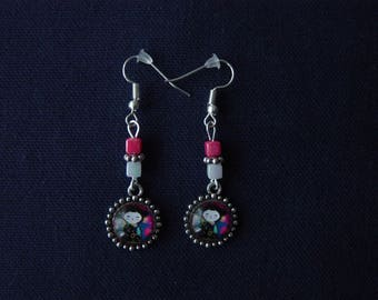 Japanese floral Silver earrings