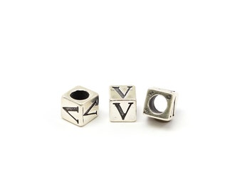 Alphabet Beads Sterling Silver 4mm Alphabet Blocks V - 1pc (3189)/1