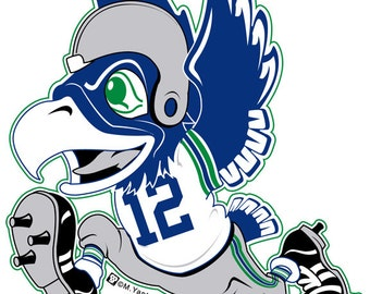 "4"" Seahawk Football Throwback Sticker"