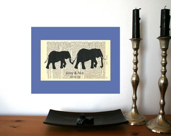 Elephants Love Wedding Engagement Valentine Anniversary Gift Personalized Art Print on Antique 1896 Dictionary Book Page