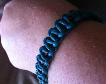 Burgundy and Teal Leather Bracelet