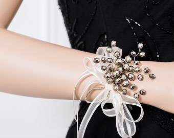 Limited Edition Taupe / Pale Gold Wrist Corsage - Stunning Gold / Taupe Corsage  -   Corsage  - Flower Corsage