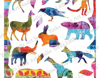 Collage Sheet Animals Digital Download Mixed Media journal clip art scrapbook 2 page PDF
