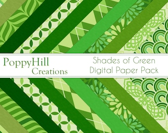 INSTANT DOWNLOAD - Printable Shades of Green Digital Paper Pack - For Commercial or Personal Use