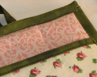 9 X 8 Off White and Soft Pink Floral Print with Green Trim. Pot Holder, Hot Pad, Oven Mitt, Insulated, Quilted, Big Pocket, Loop.