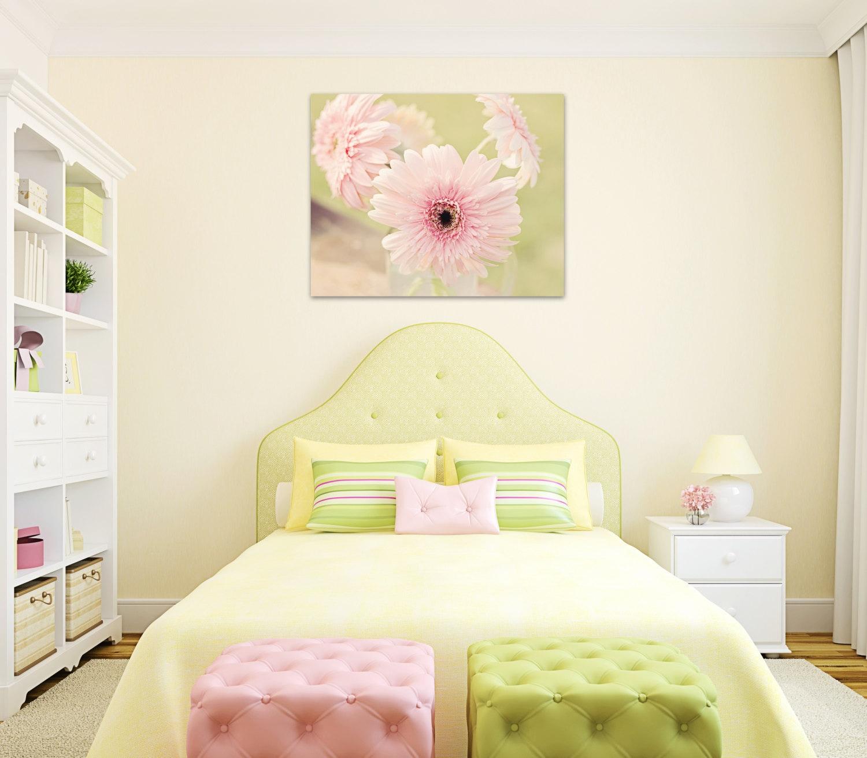 flower canvas girls room decor pink gerber daisy large wall