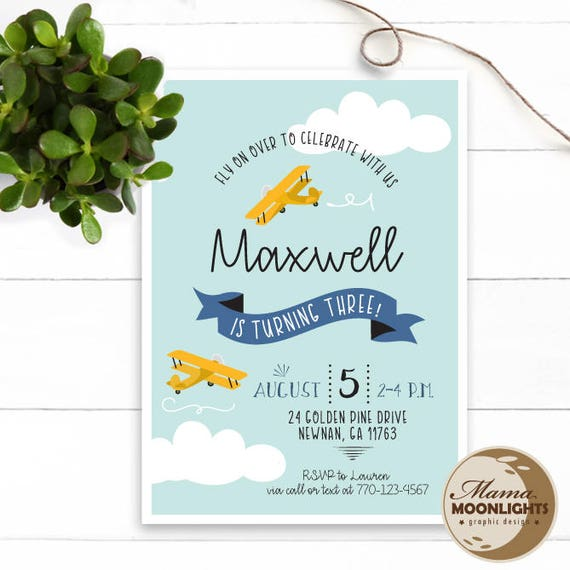 Airplane Birthday Invitation Diy Printable By Vindee On Etsy: Airplane Theme Birthday Party Printable Invitation DIY Fly