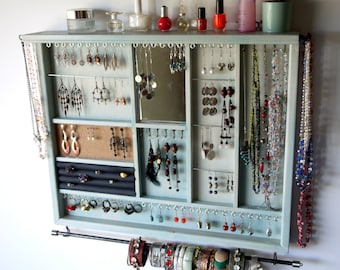 Jewelry holder. Large earrings display with shelf. AQUA BLUE stain jewelry storage. Wooden wall mount earring holder . earrings storage