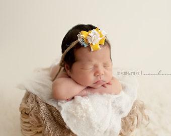 Cumin - Open Halo Headband Wrap Tie Back OR Headband - Mustard Yellow Blue Brown Cream - Rosette Twine - Newborn Baby Girl Infant Adult